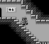 Wario Land II Game Boy Butt-sliding down stairs