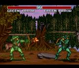 Justice League Task Force SNES Green Arrow mirror match.  Player 2 gets a darker costume if you both select the same character.