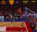 NBA Jam Tournament Edition SNES Armstrong goes for the dunk