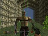 Turok: Dinosaur Hunter Nintendo 64 Close-up combat with the map turned on.