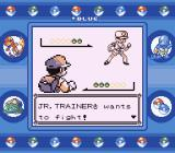 Pokémon Blue Version Game Boy You'll fight one or more jr. trainers before getting to the leader of each gym.