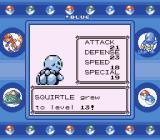Pokémon Blue Version Game Boy Squirtle levels up.