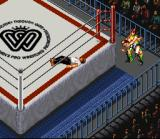 Super Fire Pro Wrestling Queen's Special SNES The referee counting birdies instead of counting out