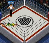 Super Fire Pro Wrestling Queen's Special SNES The refereee ordering to break a lock