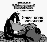 "Daffy Duck: ""Fowl Play"" Game Boy Color Title screen on B&W Game Boy"