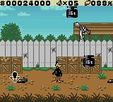 "Daffy Duck: ""Fowl Play"" Game Boy Color Daffy has to dodge the weights Bugs drops on him."