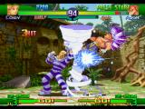 Street Fighter Alpha 3 PlayStation Final Fight's Cody smashes Adon through 3 current hits of his hurricane-based move Criminal Upper.