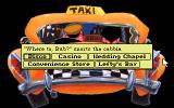 Leisure Suit Larry 1:  In the Land of the Lounge Lizards DOS In the taxi. In the remake you can just select a location from a menu