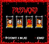 Spawn Game Boy Color Game over.  Spawn uses a symbol-based password system.