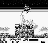 Daffy Duck Game Boy You jump with a jet pack.  The meter in the lower right shows how long you can jump