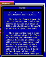 Super ZZT DOS Scrolls expand into reams of text