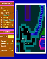 Super ZZT DOS The stream spits me out in a cave with a one-way entrance, behind which lies a segmented Centipede-style snake.