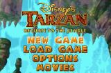 Disney's Tarzan: Return to the Jungle Game Boy Advance Main Menu
