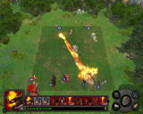 Heroes of Might and Magic V Windows Pit Fiend casts fireball at Conscript.