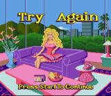 Barbie Super Model SNES Game over.  Barbie ran into too many things.
