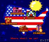 Barbie Vacation Adventure SNES Main map.  Choose a vacation spot.