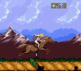 Barbie Vacation Adventure SNES Jumping a gate on horse at the ranch
