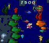 Barbie Vacation Adventure SNES Barbie turns around underwater while looking for sunken treasure off the Florida coast