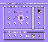 Takahashi Meijin no Bōkenjima IV NES In the start menu, you can select the item you want to use.