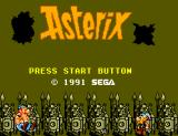 Astérix SEGA Master System Title screen.