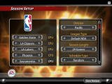 NBA Live 2005 Windows The season menu