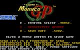 Super Monaco GP Atari ST Main menu