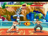 Street Fighter Collection PlayStation Aiming to block successfully Ryu's Shakunetsu Hadouken, Fei Long starts to assume a guard position.