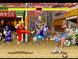 Street Fighter Collection PlayStation A simultaneous-clashing-attack involving Ken Masters' Tatsumaki Senpuu Kyaku and Chun-Li's Kikouken.