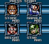 Mega Man Game Gear Stage Select screen - choose from four different bosses