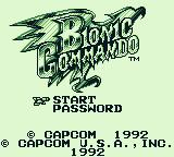 Bionic Commando Game Boy Title screen/main menu