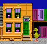 Big Bird's Hide and Speak NES Big Bird calls out the name of a character, then you select the correct window.