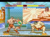 Street Fighter Collection PlayStation Simultaneous-clashing attacks: Zangief's Banishing Flat meets Edmond Honda's Hyakuretsu Harite...
