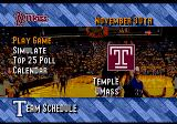 Coach K College Basketball Genesis Season mode menu