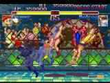 Street Fighter Collection PlayStation Cammy tries to attack Balrog (Vega) with his Spin Drive Smasher Super Combo, but he escapes at time.