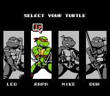 Teenage Mutant Ninja Turtles III: The Manhattan Project NES Choose Your Ninja Turtle