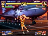 The King of Fighters '99: Millennium Battle PlayStation Bao used his grabbing move Critical Throw and is about to drop-damage Mai Shiranui in the ground!