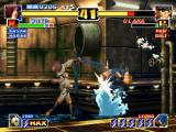 The King of Fighters '99: Millennium Battle PlayStation Whip using his swinging combat weapon to connect a successful Body Blow Attack in Clark Steel.