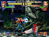 The King of Fighters '99: Millennium Battle PlayStation Aiming to stop Terry Bogard's offensive, Li Xiangfei uses her sweep against his Power Drive move.