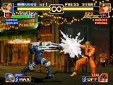 The King of Fighters '99: Millennium Battle PlayStation Stopped at a safe distance, Ryo Sakazaki waits the end of Maxima's M4 Kata Vapor Cannon to attack.