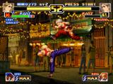 The King of Fighters '99: Millennium Battle PlayStation Blue Mary tries to hit Blue Mary (!) with the Dodge Attack command, but she jumps to avoiding it.