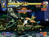 The King of Fighters '99: Millennium Battle PlayStation Demonstration match with Leona Heidern successfully hitting Chin Gentsai through her High Kick.