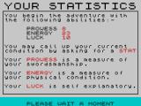 Mountains of Ket ZX Spectrum Starting stats