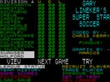 SuperStar Soccer ZX Spectrum Main menu and table