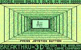 3-D Brickaway Commodore 64 Starting screen