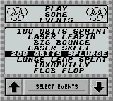 Alien Olympics Game Boy Select from some very strange sounding events