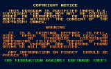 Simulcra Atari ST Anti-piracy message