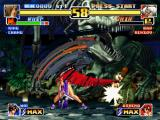"The King of Fighters '99: Millennium Battle PlayStation Whip attacks successfully Chin Gentsai with her fast-speeding move S.S. Type A ""Code: Yuuetsu""."