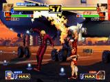 The King of Fighters '99: Millennium Battle PlayStation Assisted by Blue Mary's Rapid Spider move, K' tries to attack Kim Kaphwan using his Crow Bites move.