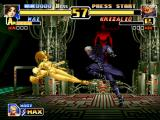 The King of Fighters '99: Millennium Battle PlayStation An Armored-Mode Mai fails in trying to hit Krizalid (Mid-Boss Form) with the Body Blow Attack...
