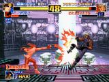 The King of Fighters '99: Millennium Battle PlayStation Yuri Sakazaki (now with Counter Mode activated) hits Krizalid (Last Boss Form) with his Ko'ou Ken.